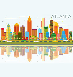 atlanta skyline with color buildings blue sky and vector image