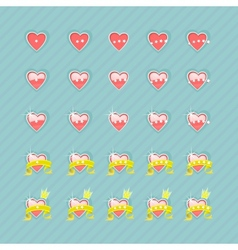 Set of hearts and levels vector
