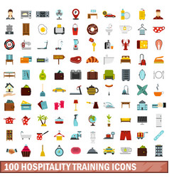 100 hospitality training icons set flat style vector image
