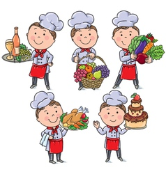 Little chef with food and meals vector