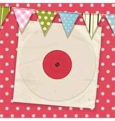 vintage record and sleeve with bunting on a pink vector image