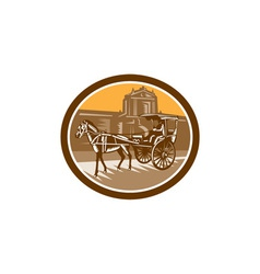 Horse-Drawn Carriage Intramuros Woodcut Retro vector image