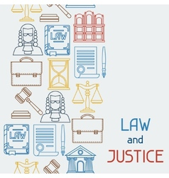 Law and justice icons seamless pattern in flat vector image