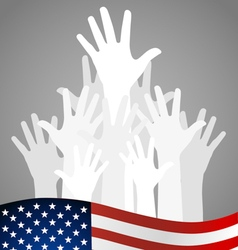 Hands and american flag vector