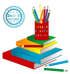 books and pencils vector image