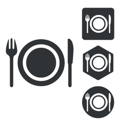 Dishware icon set monochrome vector
