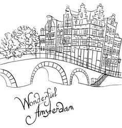 City view of amsterdam canal and bridge vector