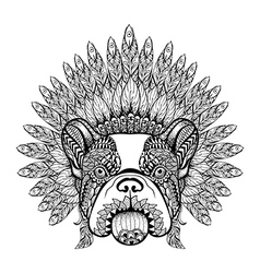 Hand drawn french bulldog in feathered war bonnet vector