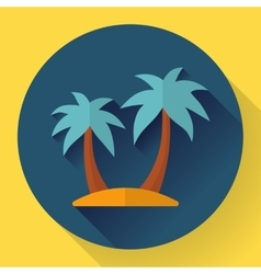 Palm island travel icon flat designed style vector