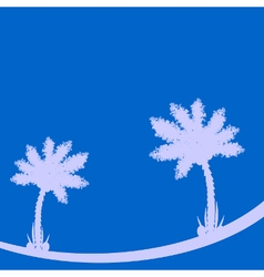 Palm tree on blue background vector