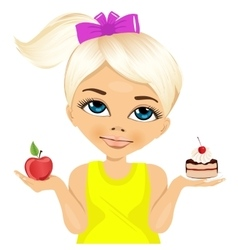 Doubtful little girl holding an apple and dessert vector