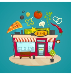 Diner building concept with pizza and vegetables vector