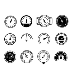 Meter icons symbols of speedometers manometers vector