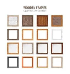 Wooden square frames set vector