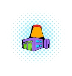 Nuclear power plant icon comics style vector