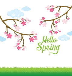 Spring blossom and lawn background vector
