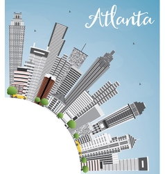 Atlanta skyline with gray buildings blue sky vector
