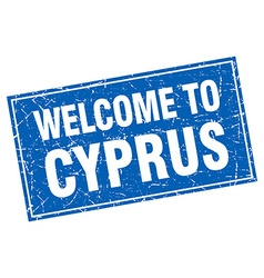 Cyprus blue square grunge welcome to stamp vector