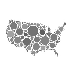 Usa map mosaic of black circles vector