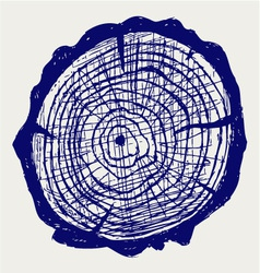 Cross section of tree stump vector