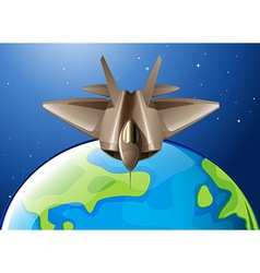 Spaceship flying over the earth vector