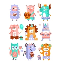 Stylized funky animals birthday party sticker set vector