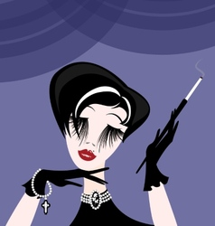 Abstract smoking lady vector