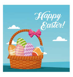 Basket egg easter celebration blue sky vector