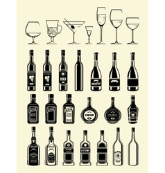 black drinks and beverages icons set vector image