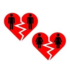Broken heart gay pairs icons vector