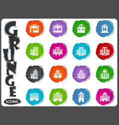 buildings icons set in grunge style vector image