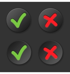 Check and cross mark button set vector