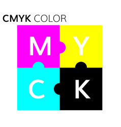 Cmyk color scheme puzzle vector
