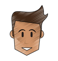 Color pencil front face man with hairstyle vector