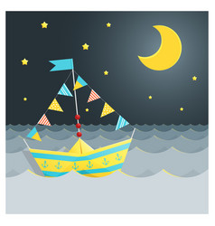 Colorful paper ship sailing on the sea vector