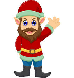 cute cartoon santa claus waving vector image vector image