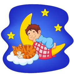 Cute little boy with cat sleeping on the moon vector
