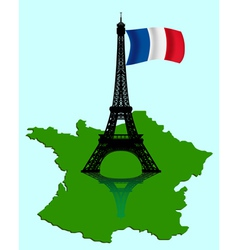 eiffel tower with map vector image vector image
