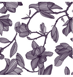 flowering magnolia hand drawn monochrome seamless vector image vector image