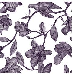 flowering magnolia hand drawn monochrome seamless vector image vector image