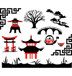 Garden asian set vector