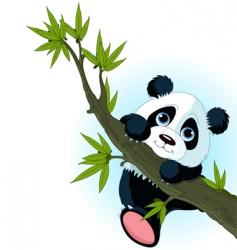 Giant panda climbing tree vector