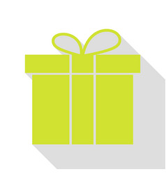 Gift box sign pear icon with flat style shadow vector