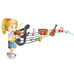 Girl playing violin with music notes in background vector