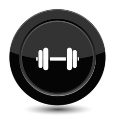 Glossy black dumbbell button vector