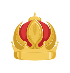 Golden emperor ancient crown with red velvet vector