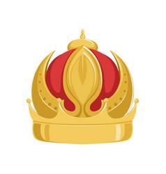 golden emperor ancient crown with red velvet vector image vector image