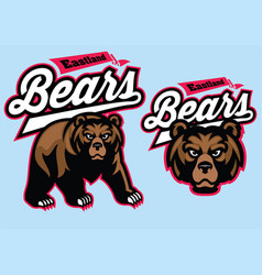 Grizzly bear mascot set vector