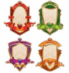 heraldic shields with banners vector image