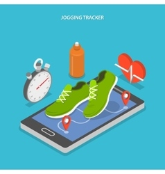 Jogging and running flat isometric concept vector